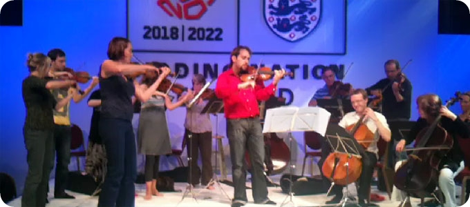 Camerata plays for FIFA delegation in Manchester