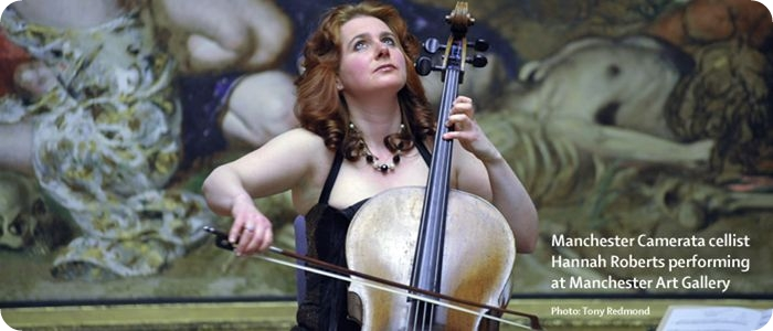Cellist Hannah Roberts plays for Manchester Camerata Patrons