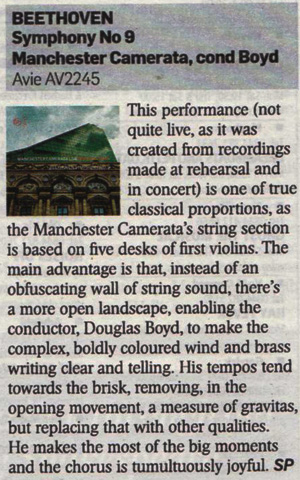 Manchester Camerata's B9 Recording reviewed in The Sunday Timeses