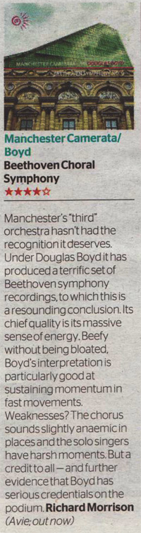 Manchester Camerata's B9 Recording reviewed in The Times